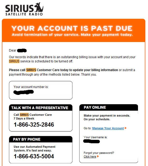 Sirius Email Scam